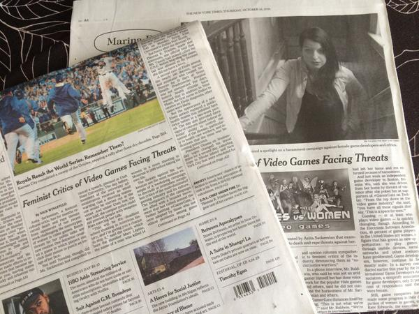 Anita Sarkeesian and GamerGate on the front page of the New York Times